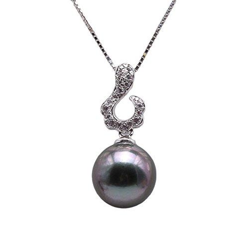 JYX Pearl Tahití colgante de plata de ley natural 9,5 mm redondo negro perla tahiti gota collar para mujeres negro