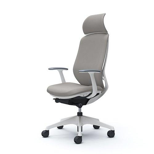 オカムラ オフィスチェア シルフィ― エキストラハイバック クッション デザインアーム 樹脂脚 ホワイトフレーム C64CXW-FSG3 ライトグレー