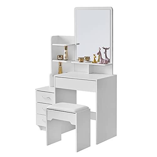 CLIPOP Tocador blanco para dormitorio, escritorio de maquillaje con espejo y 4 cajones de almacenamiento, taburete, mesa de maquillaje para mujer, niña, dormitorio, tocador (87 x 40 x 144 cm)