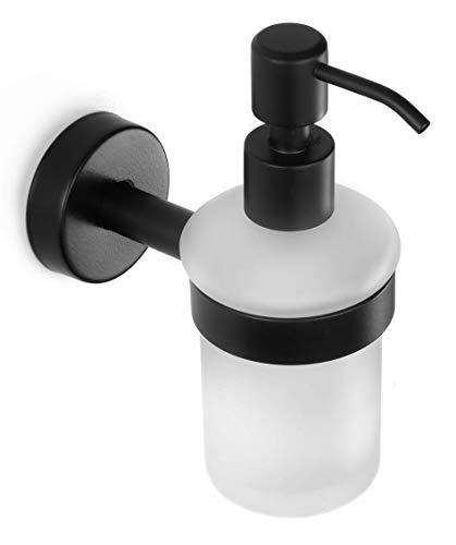 Kapitan Seifenspender 3M VHB Kleber Ohne Bohren Wandmontage Mattglas Seifenschale Seife Seifenhalter Seifenhalterung Spender Schwarz Edelstahl Made in der EU