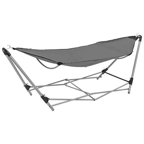 Festnight Hangmat met inklapbare standaard Draagbare opvouwbare hangmat lounge campingbed stalen frame beugel en luxe hangmat, geschikt voor buiten, tuin en terras grijs