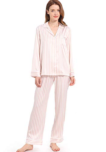 Serenedelicacy Women's Silky Satin Pajamas Striped Long Sleeve PJ Set Sleepwear Loungewear (Medium, Blush/Ivory Stripe)