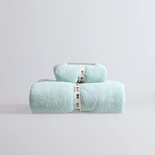 MQQM Contiene 2 Toallas de baño de,Coral Juego de Toallas de Terciopelo, de Secado rápido Toalla de baño Suave-Verde 2_1 Toalla + 1 Toalla de baño,Toallas Premium 100% algodón