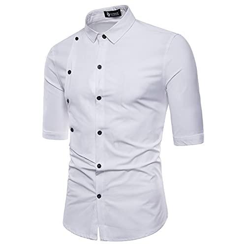 Camisa de Hombre Moda Color sólido Tendencia Personalidad Camisa de Manga Corta básica Informal de Doble Botonadura Europa y América XXL