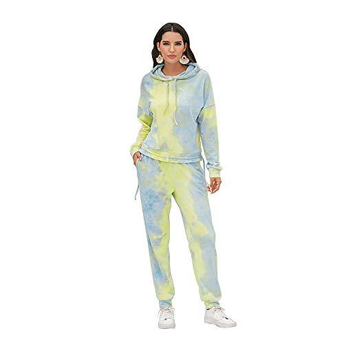 Women's 2 Piece Tie Dye Sweatsuit Long Sleeve Tracksuit Hoodie Tops with Drawstring Sweatpants