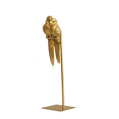 HUANSUN Adornos artesanales de pájaro Loro Animal simulado de Resina Creativa nórdica Oro decoración de Escritorio Moderna para el hogar Figuras en Miniatura, b