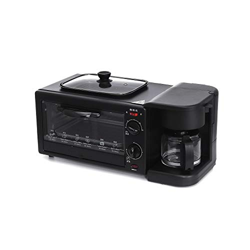NLYWB 3 in 1 Breakfast Coffee Machine, Toaster Oven Griddle, Non-Stick Coating, Adjustable Time Temperature, Suitable for Family Restaurants, Etc, 20.6x12x11 Inch