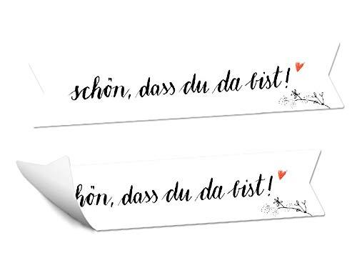 48 Wimpel Aufkleber - Schön, dass du da bist | Schwarz Weiß Kalligrafie Design mit Blumen | MATTE Papieraufkleber für Hochzeit Gastgeschenke | Etiketten für Tischdeko, Weinflaschen, Geburtstag, Taufe
