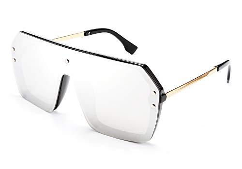 FEISEDY Klassische One Piece Schild Sonnenbrille Flach Top Gradient Linse Randlos Übergroß Brille für Damen Herren B2574