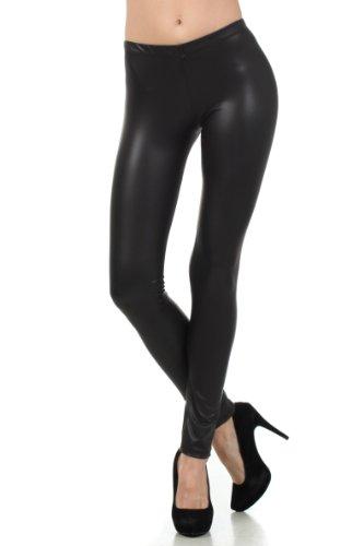 Sakkas FOMatteLiquid8515 Fußlose Ultra Slim Fit Matte Flüssigkeit Wet Look Leggings - Schwarz/Large