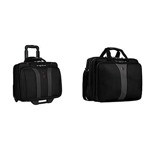 Wenger 600659 Granada 17' Laptop-Trolley, gepolsterte Laptoptasche, Schwarz/Grau {24 Liter} & 600655 Legacy 17' Laptoptasche, flugfreundliche Tasche, Schwarz/Grau {19 Liter}