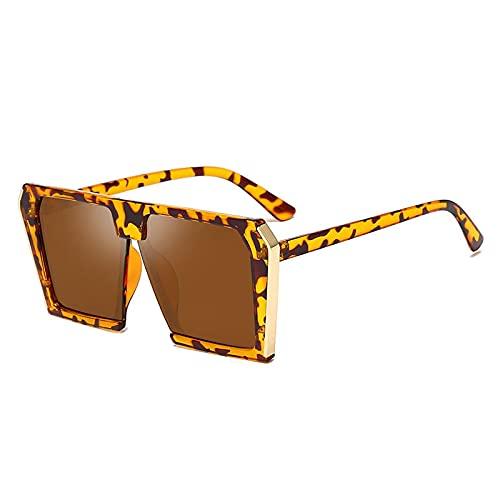 Gafas De Sol Gafas De Sol Cuadradas De Moda para Mujer, Nuevas Gafas De Sol De Estilo De Lujo para Hombre, Gafas De Sol De Gran Tamaño para Mujer, Gafas De Sol De Leopardo-Marrón
