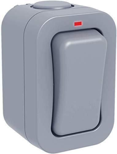 BG Electrical Single Slim 2-Way Outdoor Weatherproof Switch, IP66 Rated, 20AX, Grey