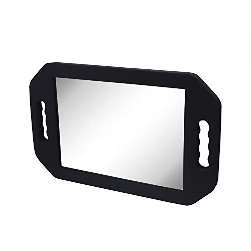 Espejo de peluquería - (40.5 x 25 cm) Negro Espejo de Espuma con Doble Mango para Profesional del salón Barberos Peluqueros - Espejo de Barbero Fácil de Llevar y Sujetar (Pack de 1)