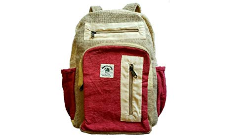Zillion Craft Classic Back Pack from Himalayan core Hemp Fiber. Best fit for School College and Outdoor Activities with Comfort and Style.Hand Made Hemp Backpack with Unisex Design