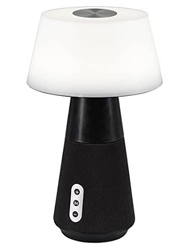 Reality Leuchten LED Tischleuchte DJ R52041142, Bluetooth Lautsprecher, Akkubetrieb, USB Anschluss, Schirm Kunststoff weiß, Fuß Stoff Schwarz, inkl. 4.5 Watt LED