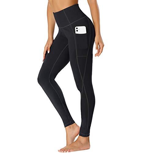 TOPLUS Damen Sport Leggings Yogahosen mit 2 Taschen, Schwarz Sporthose Yogahose Streetwear