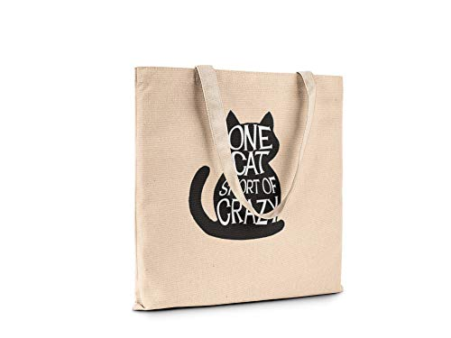 Funny Humor Fashion Novelty Canvas Tote Book Shopping Travel Bag Carry All (One cat short of crazy)
