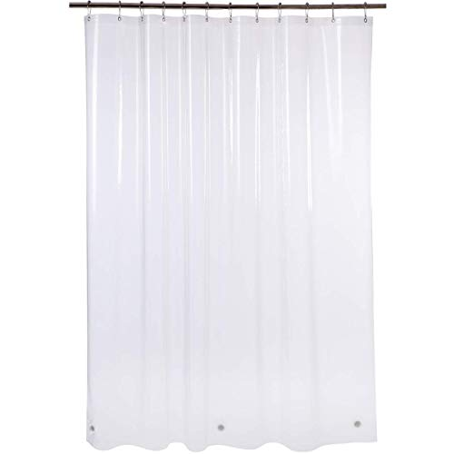 Amazer Shower Curtain Liner, 72 x 96 Inches EVA 5G Bathroom Plastic Shower Curtain with 3 Magnets and 12 Grommet Holes-Clear