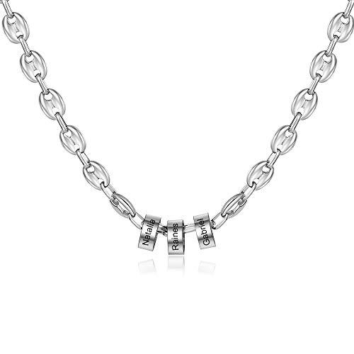 Grand Made Anhänger für Männer Personalisiert Graviert 2-5 Name Halskette Familienschmuck für Vater, Mutter Geschenk für Vatertag Brithday Weihnachten Namenskette (3 Names)