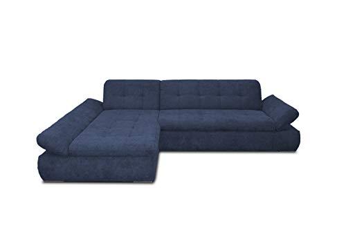 Domo Collection Ecksofa Moric / Eckcouch mit Bett / Sofa mit Schlaffunktion in L-Form Couch mit Armlehnfunktion/ 300x172x80 cm / Schlafsofa in dunkel blau