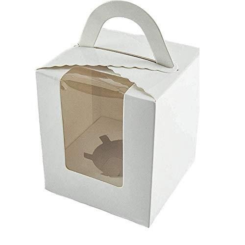20 cajas individuales para cupcakes en cajas de regalo de color blanco con ventana y asa de 9,5 x 9,5 x 11 cm