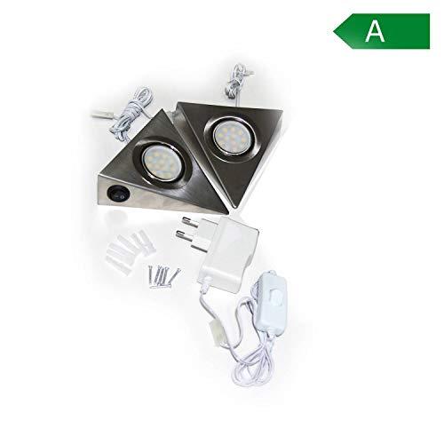 2er SET LED Unterbauleuchten mit Schalter für Küche Schrank 4000K (neutralweiß) – Dreieck-Design aus Edelstahl – Küchenleuchte Küchenlampe Schrankleuchte Dreieckleuchte