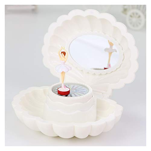 ZRJ Caja de música con luz LED y Espejo Forma de Concha Magnético Bailarina Bailarina Caja de Regalo de Almacenamiento para niños niña (Color : White)