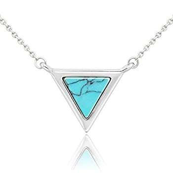Triangle Created Opal Necklace for Women Blue Pendant Birthday Gifts for Sister Girl Stylish Cute Jewelry Birthstone with Adjustable Chain(Silver)