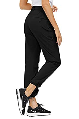 Libin Women's Hiking Cargo Pants Quick Dry Stretch Lightweight Pants Outdoor UPF 50 Fishing Camping Pants, Water Resistant, New Black M