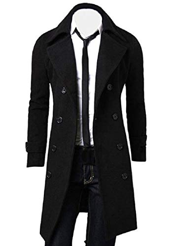 AKAUFENG Herrenmantel Lang Winterjacke, College Jacke Slim Fit warm Mantel Trenchcoat Outfit