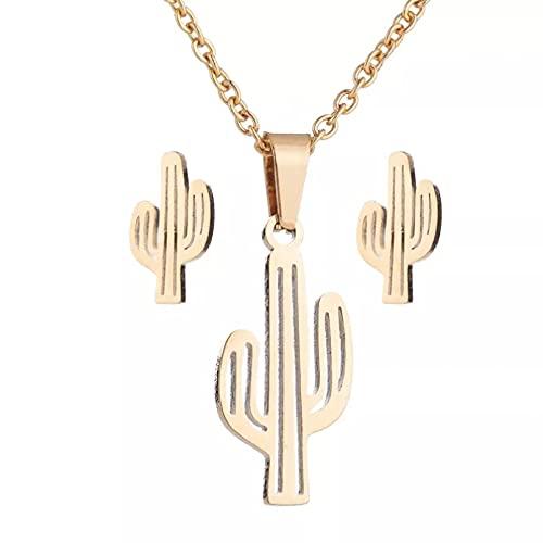 RTEAQ 2 Piezas Moda Collar Joyas Gargantilla Collares de Cactus Huecos de Oro Simples Minimalistas, Bonitos Pendientes de Planta de Cactus del Desierto, Conjuntos de Joyas para Mujer, joyería