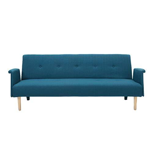 Miliboo - Sofá diseño convertible azul OSCAR