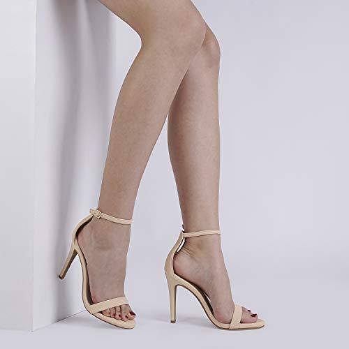DREAM PAIRS Women's Karrie Nude Nubuck High Stiletto Pump Heel Sandals Size 8.5 B(M) US