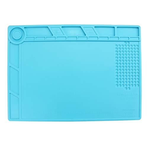 Werkzeugkoffer for Handys Wartungsplattform Hochtemperatur-hitzebeständige Reparatur Isoliermatte Silikonmatten, Größe: 34,8 cm x 25 cm (Blau) (Farbe : Blue)