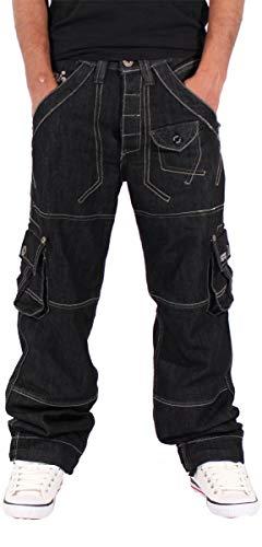Peviani Uomini Ragazzi Stile Militare Star Jeans Time Is Nappy G Ragazzo Urban Fianco Hop Abbigliamento - Nero, Nero, W32 - L33