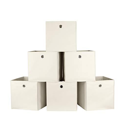 Homfa 6 Stück Aufbewahrungsbox Faltbox Regalbox ohne Deckel aus Stoff 6er-Set Beige 30x30x30cm
