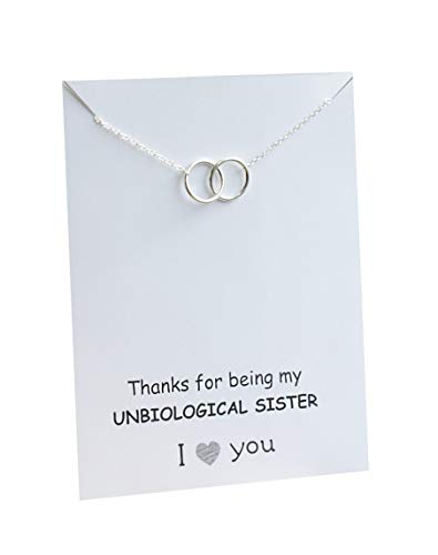 VIY Personal Card Double Interlocking Circle Necklace for Best Friend Woman Pendant Thank You for Being My Unbiological Sister Jewelry Friendship Gift (18, Interlocking Circle Necklace)