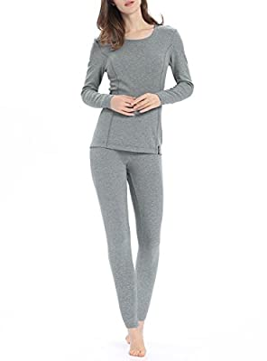 Thermal Underwear for Women, Midweight Cotton Long Underwear Fleece Long John Base Layer Set?Light Gray, Medium from