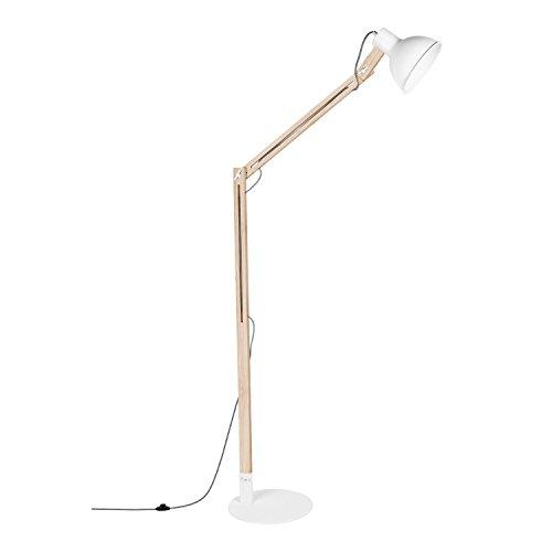 Viugreum® Stehleuchte, Holzarchitektenlampe Too Design Verstellbar [2 verstellbare Fugen] [8W LED E27 Birne inklusive] Morderne Dekoration für Schlafzimmer Raum Leselampe (WEISS)
