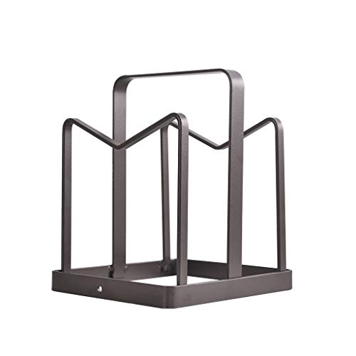 ZH Support à pan pour couvercle de casserole,Porte-casseroles et porte-ustensiles de cuisson,Range-couverts, fer forgé, brun, 14 × 12 × 16 cm