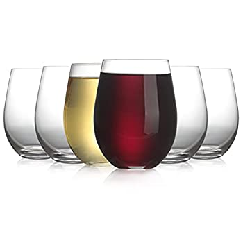 Modvera 20oz Red & White Stemless Wine Glass Set of 6   Large Size for Enhanced Aeration with Durable Lead Free Chip Resistant Rim Sleek Modern Drinking Tumbler