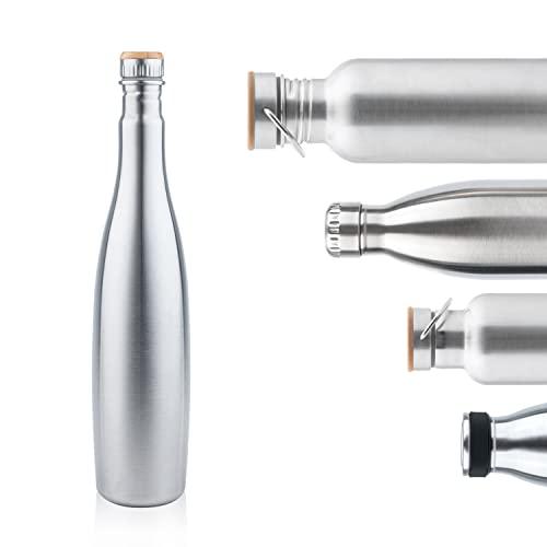 Pure Design Edelstahl Trinkflasche Schmal 1l, Champagner Luxusflasche mit Bambus Kappe, Leicht Auslaufsicher Edelstahlflasche für Sport und Büro - Kein Plastik & Ohne Logos, BPA Frei, Lebensdauer GAR.