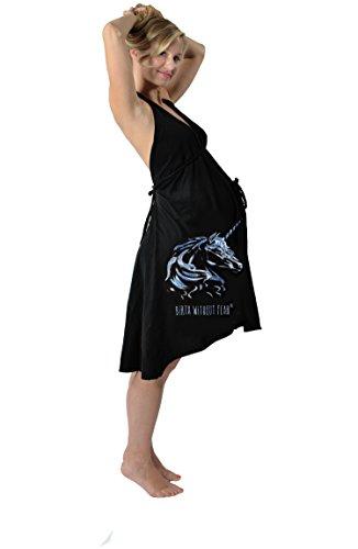 Pretty Pushers Unicorn Cotton Jersey Labor Gown One Size (2-16 pre-pregnancy) Black