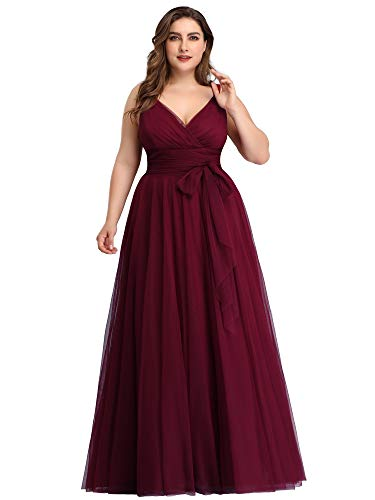 Ever-Pretty Damen Abendkleid A-Linie V-Ausschnitt tüll Ärmellos Hochzeit für Brautjungfern Burgund 56