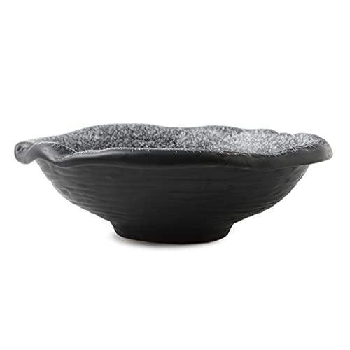 SDFB Cuenco de Ensalada de cerámica esmaltada Creative Kiln, Cuenco de Fideos Grande con Forma Retro de 8.5 Pulgadas, Cuenco de Sopa para Ensalada/Postre/Espagueti/Frutas/Verduras, Textura Blanco