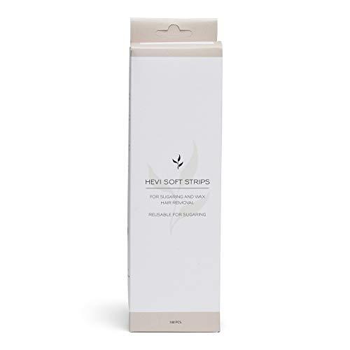 HEVI Soft Strips   100 Stück Vliesstreifen für die Haarentfernung zuhause mit Zuckerpaste oder Warmwachs   Wiederverwendbar mit bio-zertifiziertem HEVI Zuckerwachs