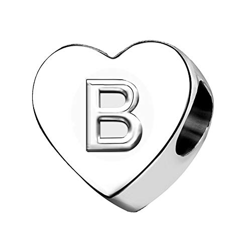 KunBead Jewelry Letter B Initial Charms Love Heart Mum Daughter Birthstone Charms for Bracelet Necklace