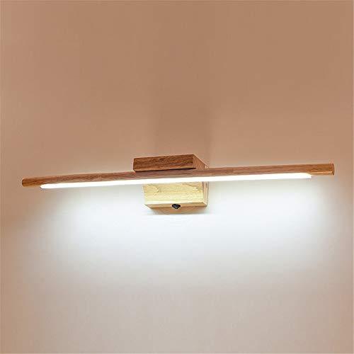 VOMI Modern LED Spiegelleuchte Holz Bad Mit Schalter Schranklampe IP44 Wasserdicht Spiegelklemmleuchte/Spiegelleuchte 180° Einstellbar Wandbeleuchtung 6000K Weißlicht (60cm)