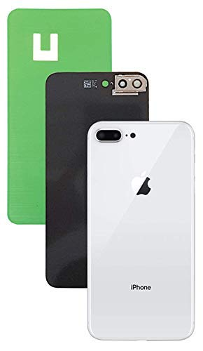 Apple iPhone 8 Plus Replacement Back Glass Cover Back Battery Door w/Pre-Installed Adhesive, Installed Camera Frame w/Lens,Best Version Apple iPhone 8 Plus All Models OEM Replacement (White)